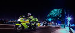 Stylised Photo of Bloodbike crossing Tyne Bridge at Night