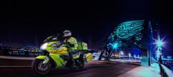 Stylised Photo of Bloodbike crossing Tyne Bridge at Night
