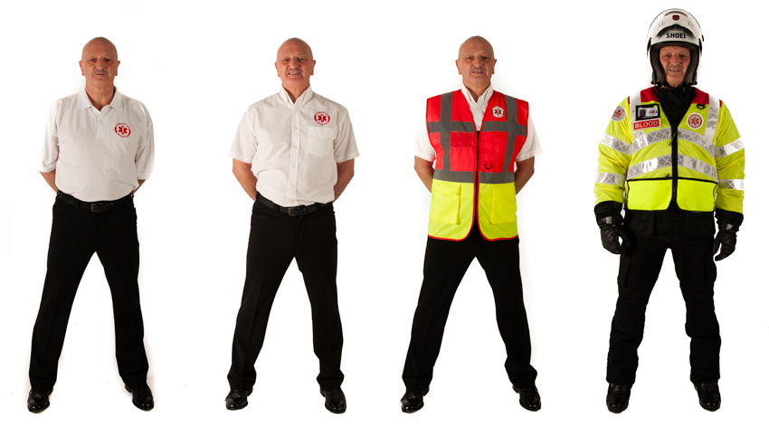image of four Blood Bike uniforms
