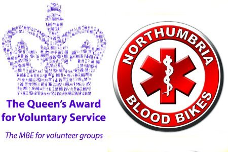 Northumbria Blood Bikes Logo alongside the Queen's Award for Voluntary Service Logo
