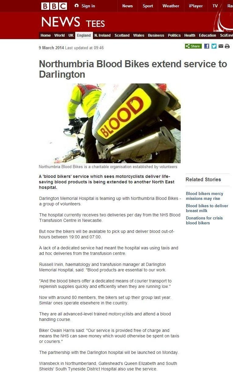 Thumbnail of BBC Webpage featuring Northumbria Blood Bikes