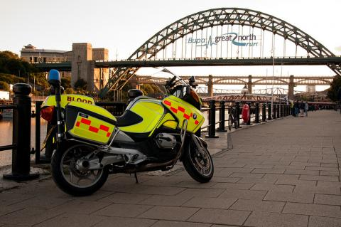 "Photo of Blood Bike ""Bamburgh"" at Newcastle Quayside."